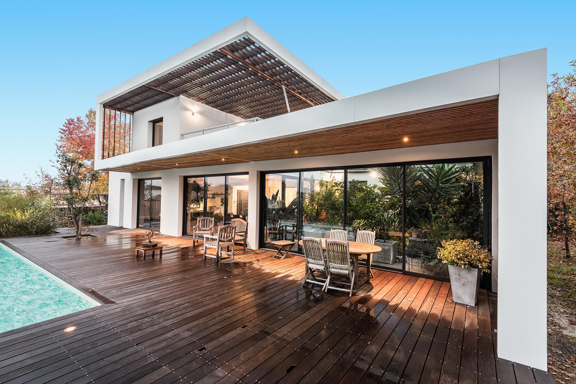 maison architecte ossature bois avec enduit. Black Bedroom Furniture Sets. Home Design Ideas