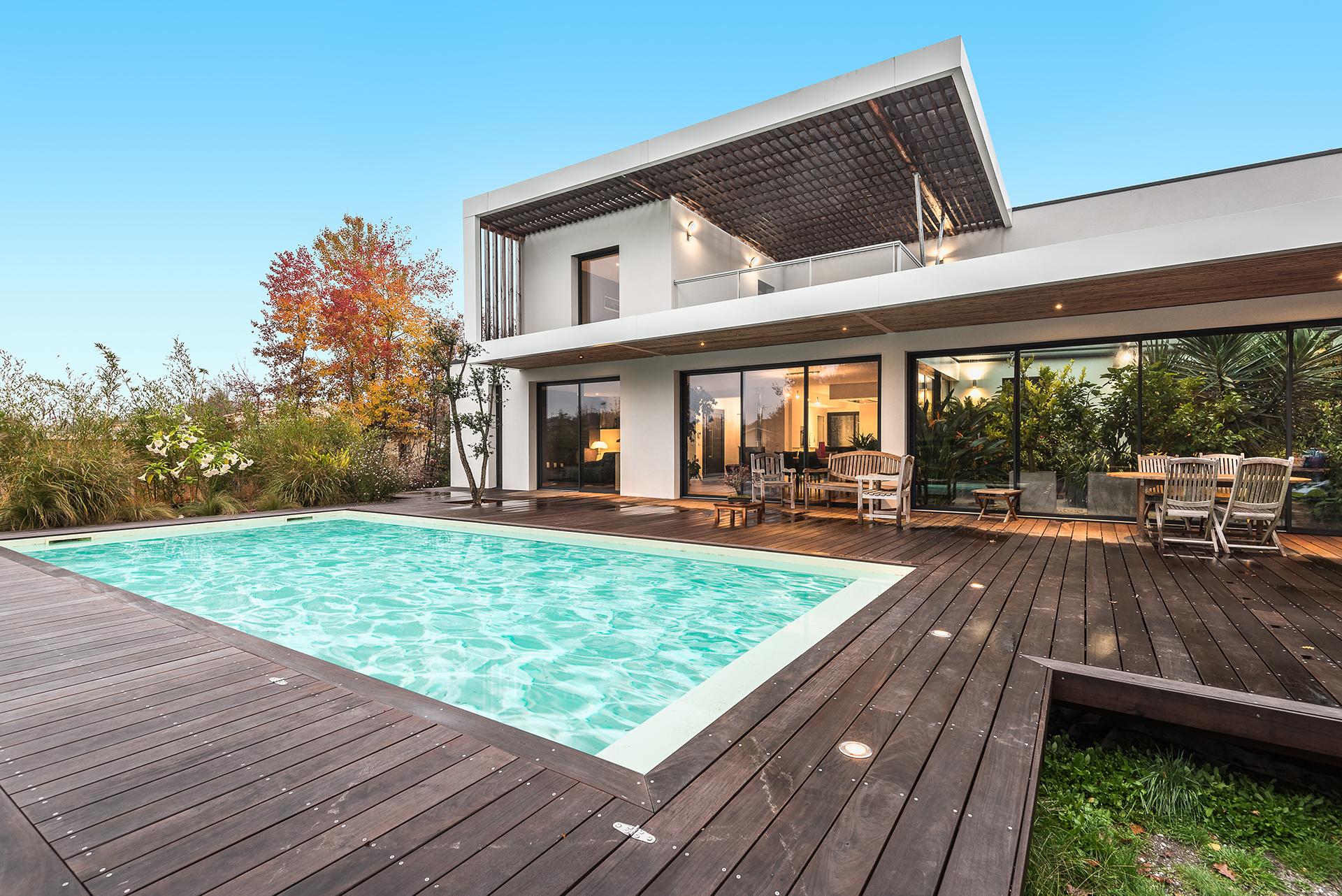 Maison architecte ossature bois avec enduit for Projet construction maison individuelle